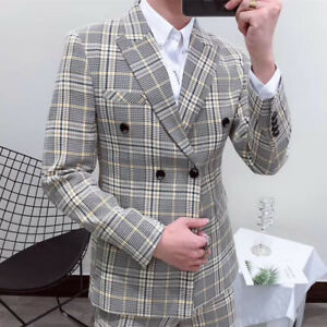 Smoking-Plaid-Men-039-s-Suit-Double-Breasted-2-Pieces-Formal-For-Wedding-Tuxedos-New