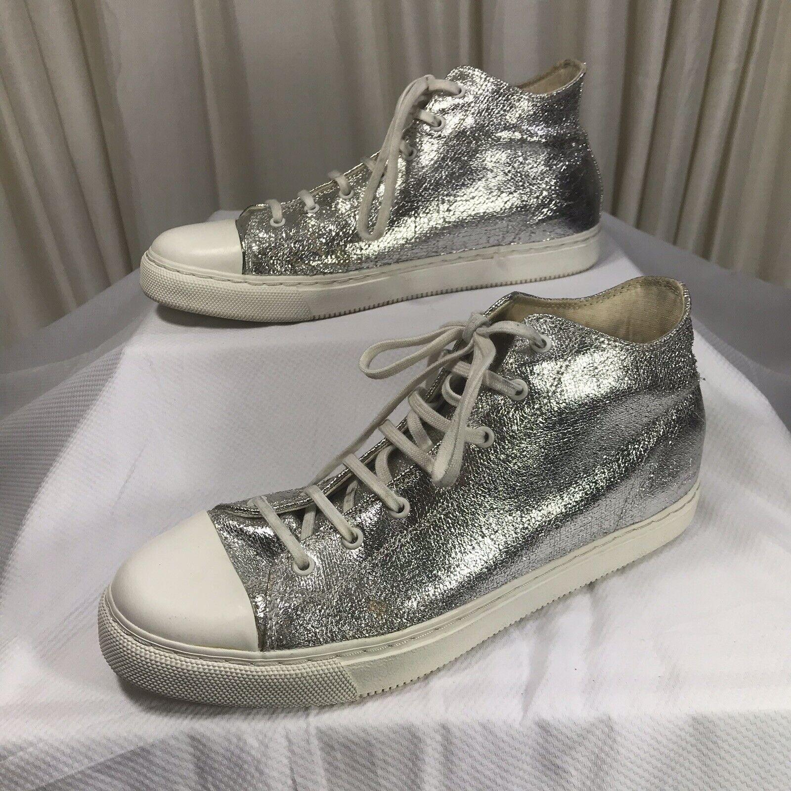 "Zara Man shoes Sneakers Silver High Top Lace Up Metallic ""chucks"" Size 42 US 9"