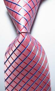 New-Classic-Checks-Pink-Red-Blue-White-JACQUARD-WOVEN-Silk-Men-039-s-Tie-Necktie