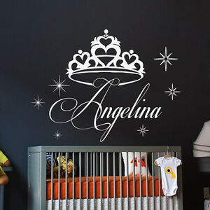 Girl Name Wall Decals Crown Decal Star Vinyl Sticker Baby Nursery Kids Art MN878