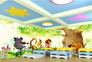 3D Tree Hole Animal Cartoon Paper Wall Print Wall Decal Wall Deco Indoor Murals