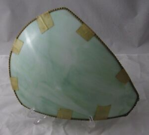 Antique-Green-Slag-Stained-Curved-Bent-Glass-Lamp-Shade-Replacement-Panel