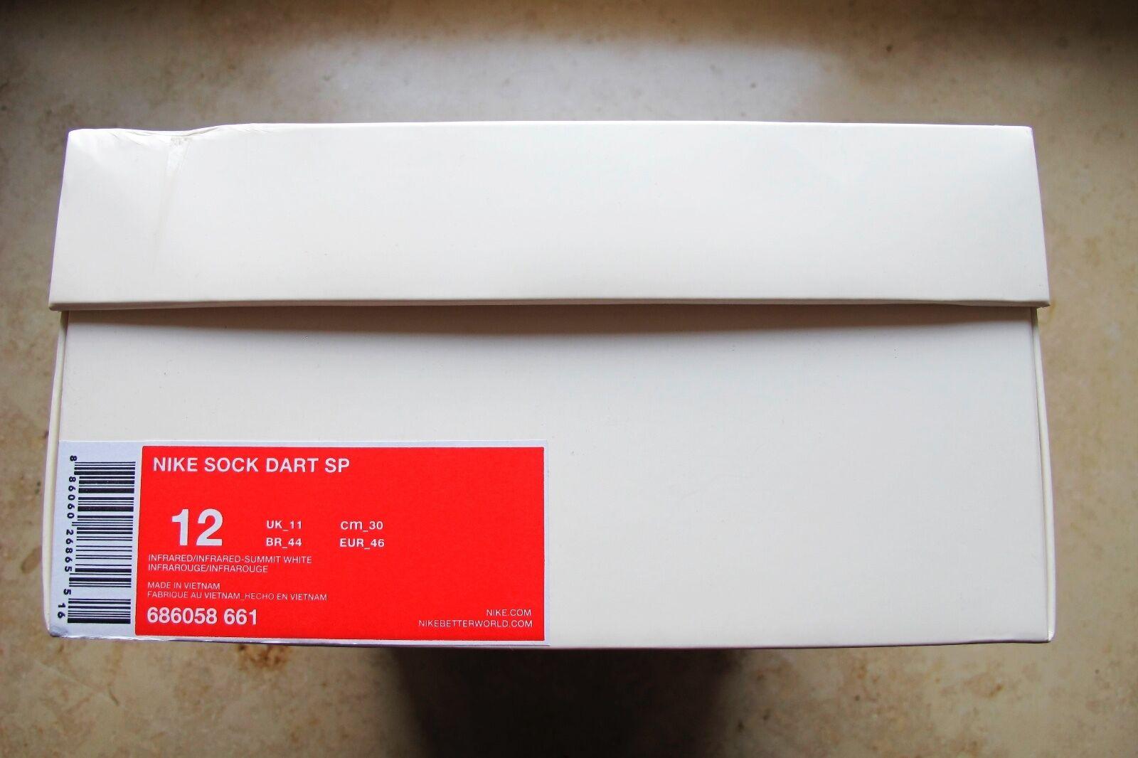 Nike Sock Dart SP INFRARED SUMMIT WHITE SIZE 12 (686058-661)