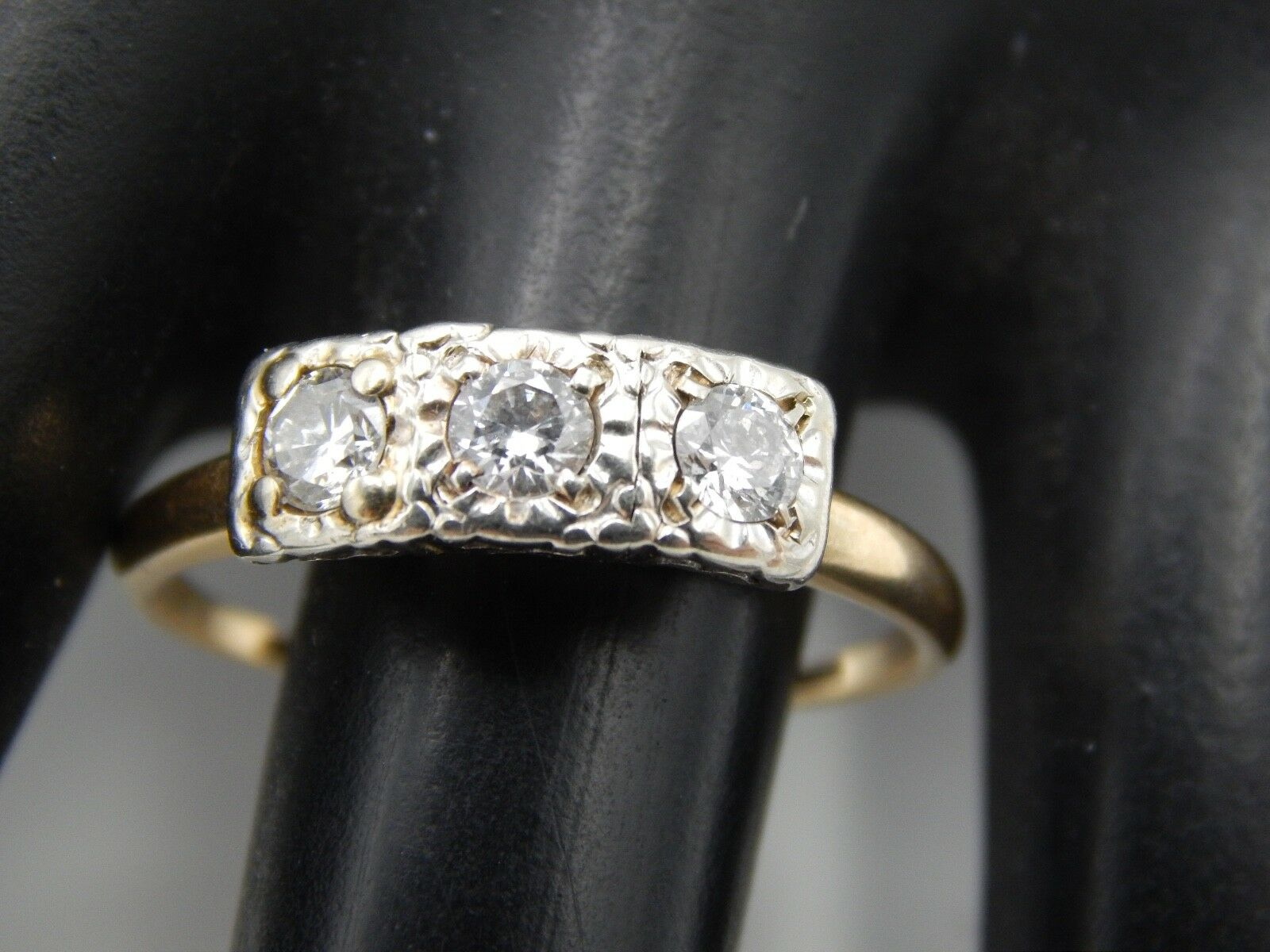 ART DECO Handmade  3-stone Transitional Cut Diamond Ring .55 ct G VS 14k Estate
