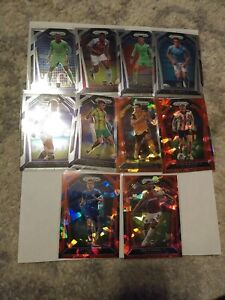 2020-2021 Soccer Panini Prizm Lot Of 10 Rookies - 6 Base Rookies - 4 Red Cracked