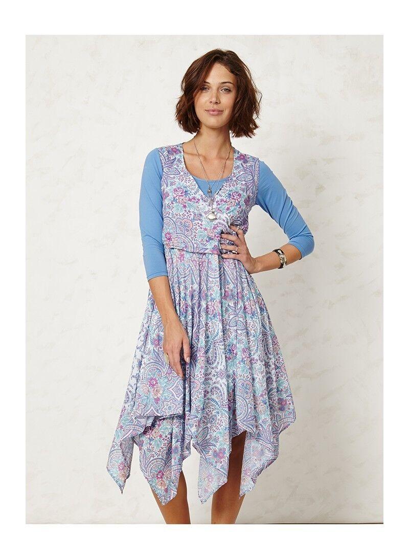 Though Braintree Kleid Dharma Organic Wrap Dress organische Baumwolle blau