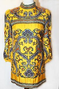 2800-D-amp-G-DOLCE-amp-GABBANA-JUNIOR-Runway-Yellow-Silk-Beaded-Sequin-Dress-Sz-40