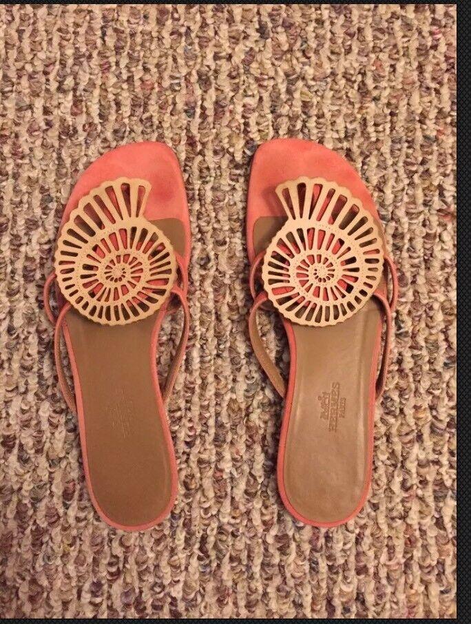 Auténtico Hermes sandalias zapatillas tamaño  37