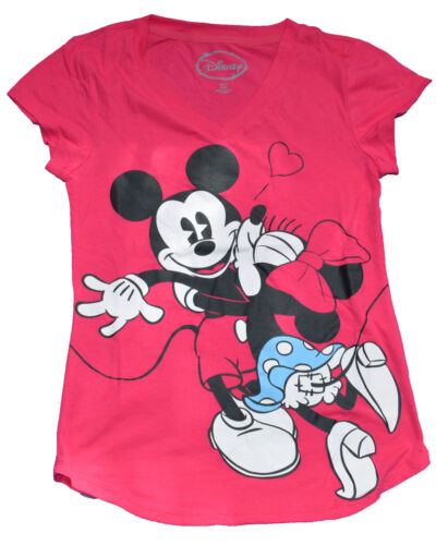 CLOSEOUT 1 LEFT***NWT Minnie /& Mickey Mouse Kiss V Neck Junior T-shirt FREE SHIP