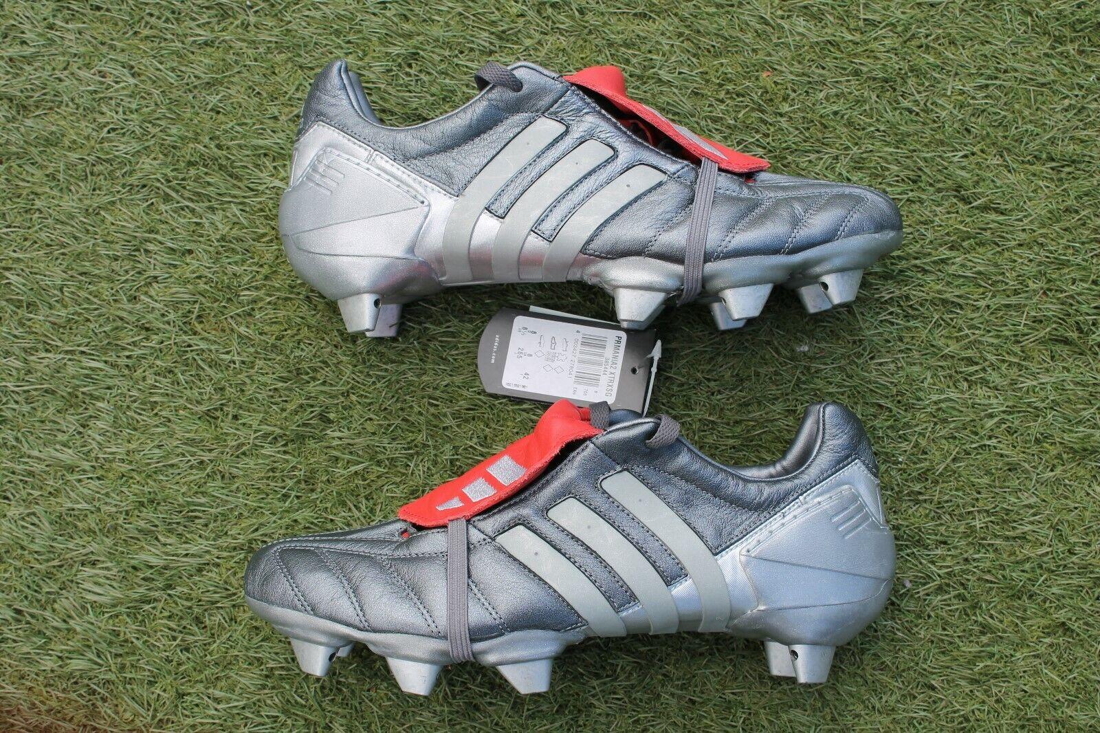 2002 BNWT Adidas Projoator Mania terreno blando Gun Metal UK Talla 8 botas de fútbol
