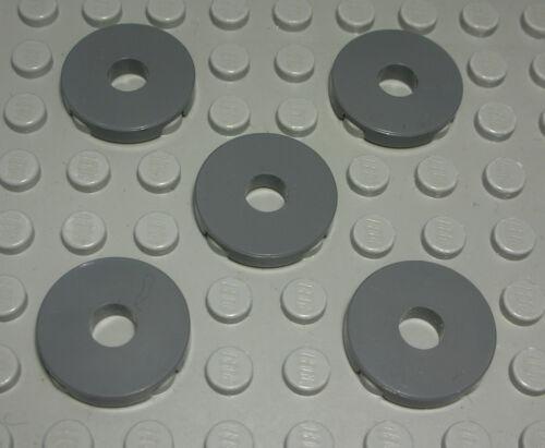 Lego Fliese 1280 # Kachel rund mit Loch 2x2 new Dunkelgrau 5 Stück