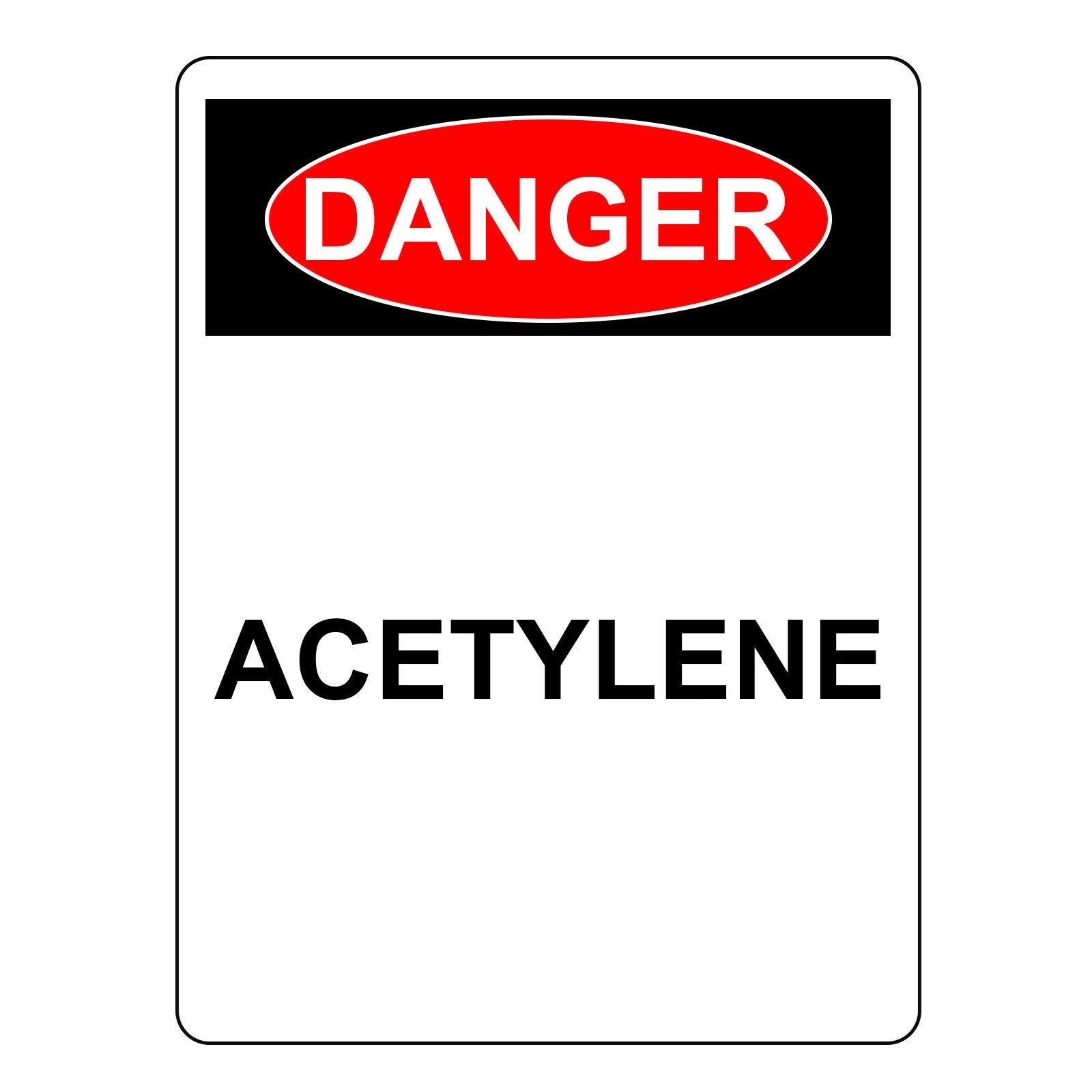 Danger Acetylene Sign, Aluminum Metal Safety UV Print Hazardous Warning Sign