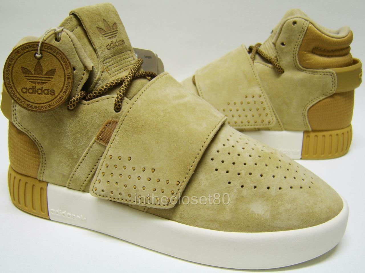 Adidas Tubular Invader Strap Wheat Tan Brown Suede Juniors Girls Boys Trainers
