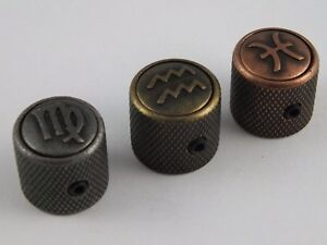ZODIAC Star Sign TELECASTER Tele GUITAR KNOBS in 3 Antique Metal finishes