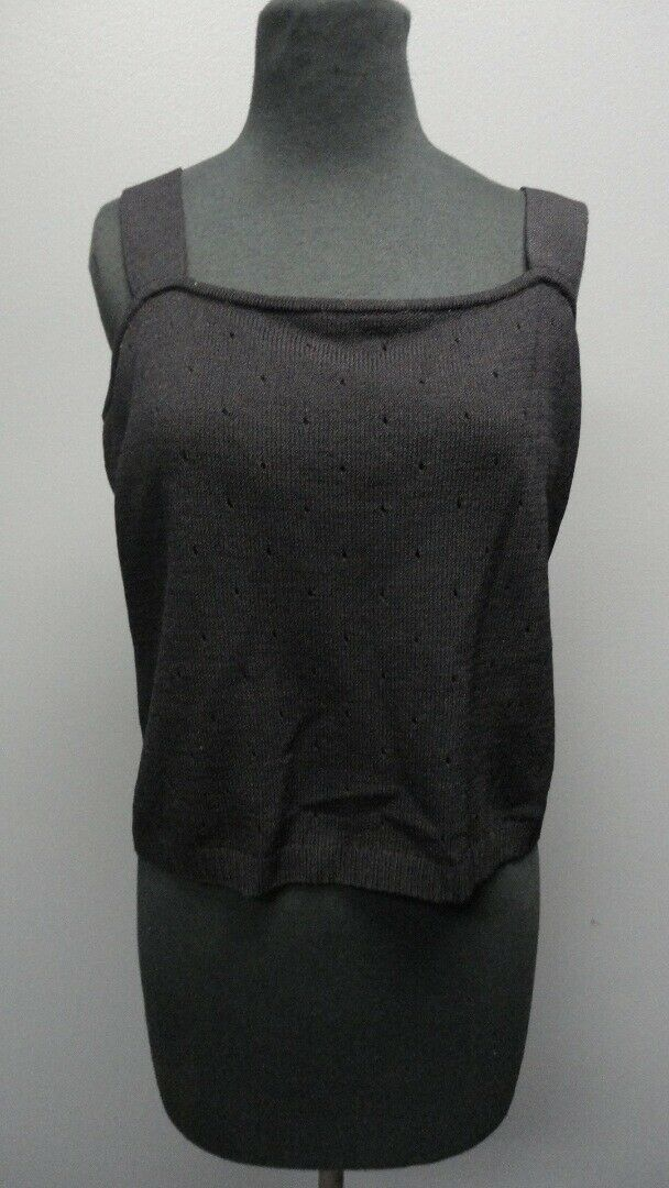 ST. JOHN schwarz Sleeveless Scoop Neck Solid Casual Blouse Top Sz L GG5111