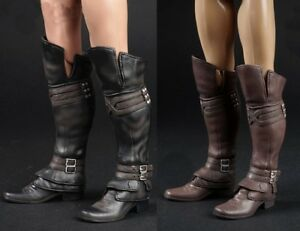 Brown 1//6 Soldier Shoes Assassin/'s Creed Long High Tube Boots w//feet 12/'/'Body