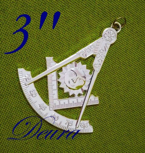 """Past Master 3/"""" Collar Jewel SQUARE /& COMPASS SILVER with BLACK Neck Strap"""