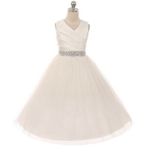 IVORY-SILVER-Flower-Girl-Dress-Wedding-Pageant-Formal-Prom-Dance-Birthday-Party