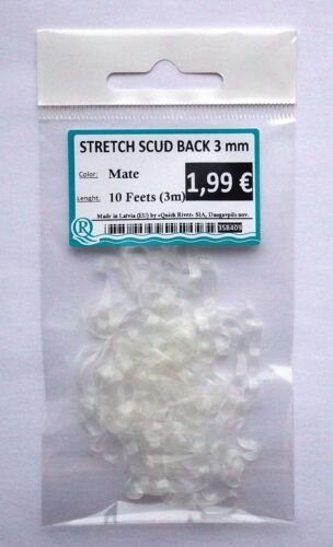 """SCUD BACK STRETCH 10 feet 1//8/"""" Czech Nymph Silicone Body Material 3mm 4 colors"""