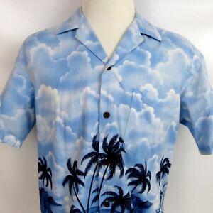 RJC-Hawaiian-Shirt-Made-in-Hawaii-Aloha-Cotton-Blue-Ocean-Palm-Trees-Mens-size-M