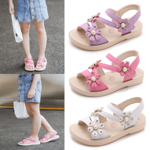 Toddler Girls Summer Floral Print Sandals Flats Comfort Soft Shoes Size 8.5-10.5