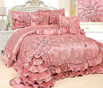 Tache 6 PC Royal Princess Dream in Pink Ruffled Beaded Satin Quilt Comforter Set