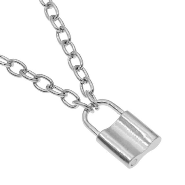 Mens Womens Charm Lock Pendant Alloy Long Chain Necklace Unisex Jewelry Gift W