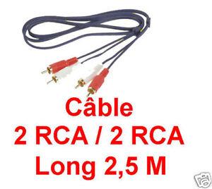 1 Câble 2 Rca Mâle Vers 2 Rca Mâle Fiches Surmoulées Dorées Repérées Long 2,5 M PréParer L'Ensemble Du SystèMe Et Le Renforcer