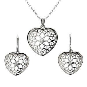 HOT DIAMONDS LEVANTER HEART PENDANT NECKLACE /& EARRINGS SET HSS096*SPECIAL OFFER