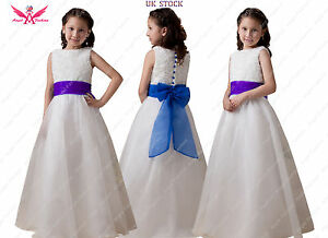 Isabelle ivorywhite flower girl dress with choice of bluepurple image is loading isabelle ivory white flower girl dress with choice mightylinksfo