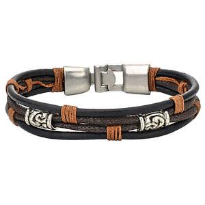 Herren-Damen-Armband-Tribal-Geflochten-Armreif-Leder-Seil-Legierung-Brau-T8L8