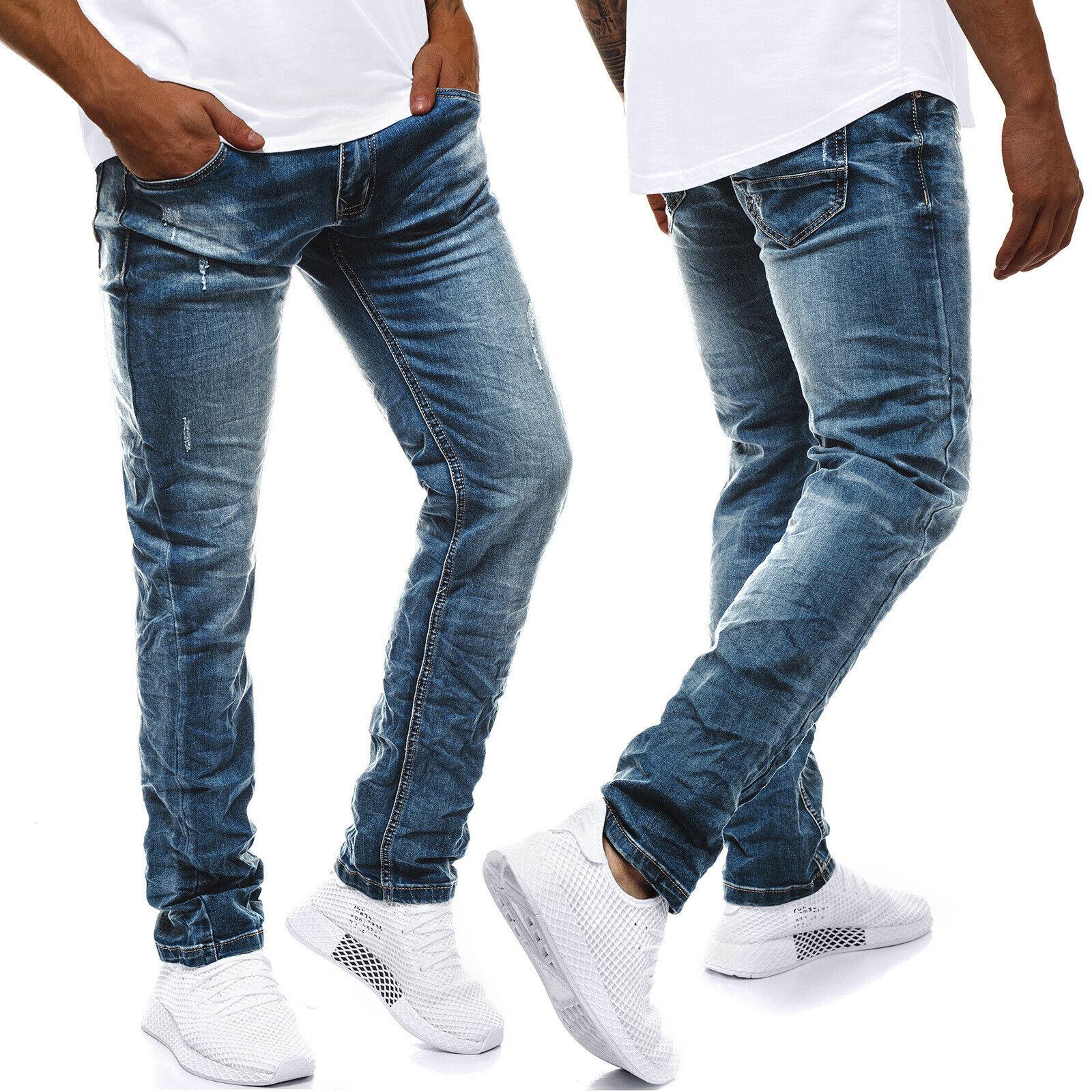 Jeanshose Röhrenjeans Straight Cut Clubwear Slim Fit Hosen OZONEE DP//576 Herren