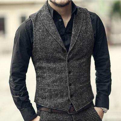 retro mens business formal dress 100 wool vest slim fit