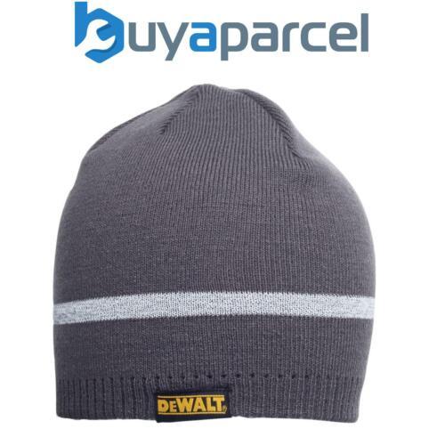 DeWalt Bonnet Tricot Gris avec bande réfléchissante chantier Chaud Chapeau Taille Unique