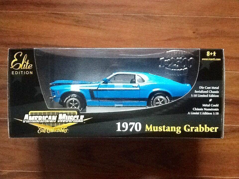 ERTL 1 18 AMERICAN MUSCLE 1970 bleu MUSTANG GRABBER ELITE EDIT. 1  2500    33963