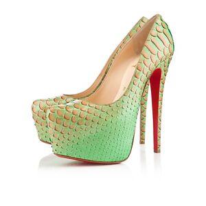 0f61d1fcb66 Details about Christian Louboutin DAFFODILE 160 Python Fairy Tale Platform  Heel Pumps Shoes 35