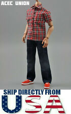"1/6 Red Plaid Short Sleeves Shirt Blue Jeans Set For 12"" Figure - U.S.A. SELLER"
