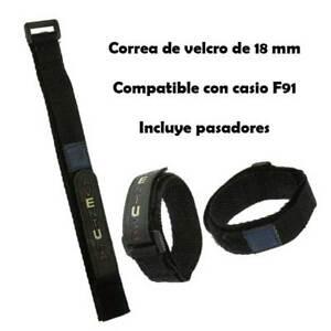 Gürtel Uhr Klettverschlus<wbr/>s schwarz kompatibel mit casio F 91 w schwarz