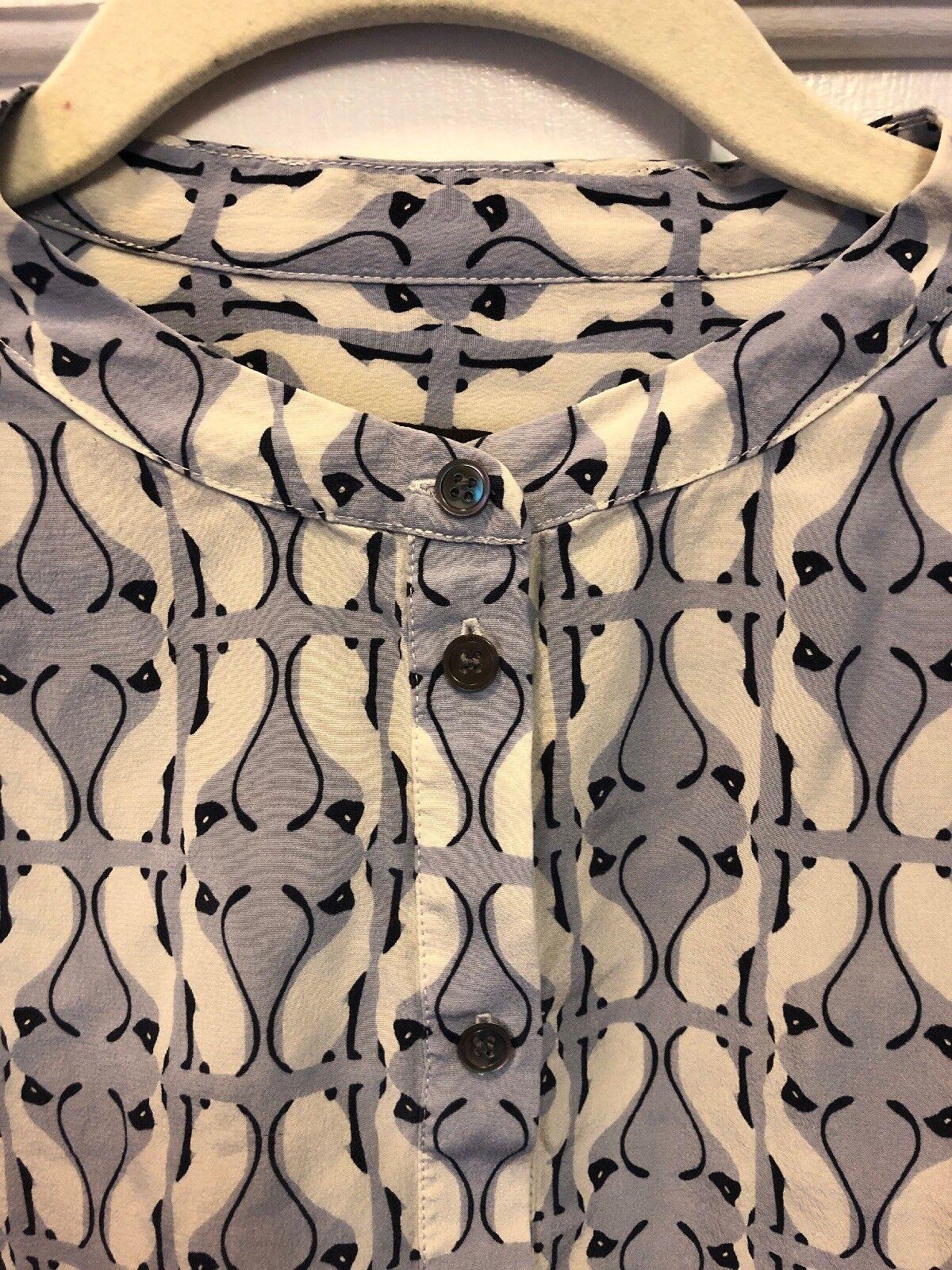 11. J. Crew CAT Print 100% Silk Pop Over Top Shirt Blouse Siamese Cats Größe 4