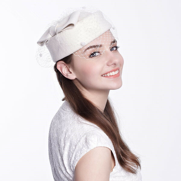 74f9d68698d White Womens Dress Fascinator Wool Felt Pillbox Hat Party Wedding Bow Veil  Show