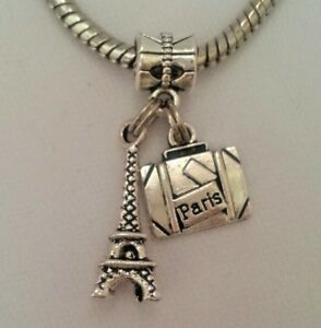 Travel-France-Paris-Eiffel-Tower-Suitcase-Charm-Pendant-Bead-f-European-Bracelet