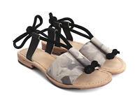 John Fluevog Shoes Rivers Limpopo Sandals Grey Floral Leather Lace Up 7