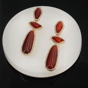 Pendientes-CLIPS-ON-NO-AVANCE-Candelabro-Art-Deco-Gota-agata-Rojo-QD2