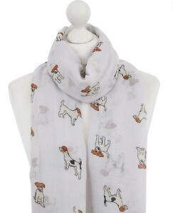 White-Jack-Russell-Scarf-Ladies-Animal-Print-Tan-Puppy-Terrier-Dog-Scarves-Wrap