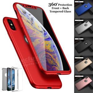 Case-for-iPhone-6-7-8-5s-Plus-XS-Max-Cover-360-Shockproof-Hybrid-Glass-Protector