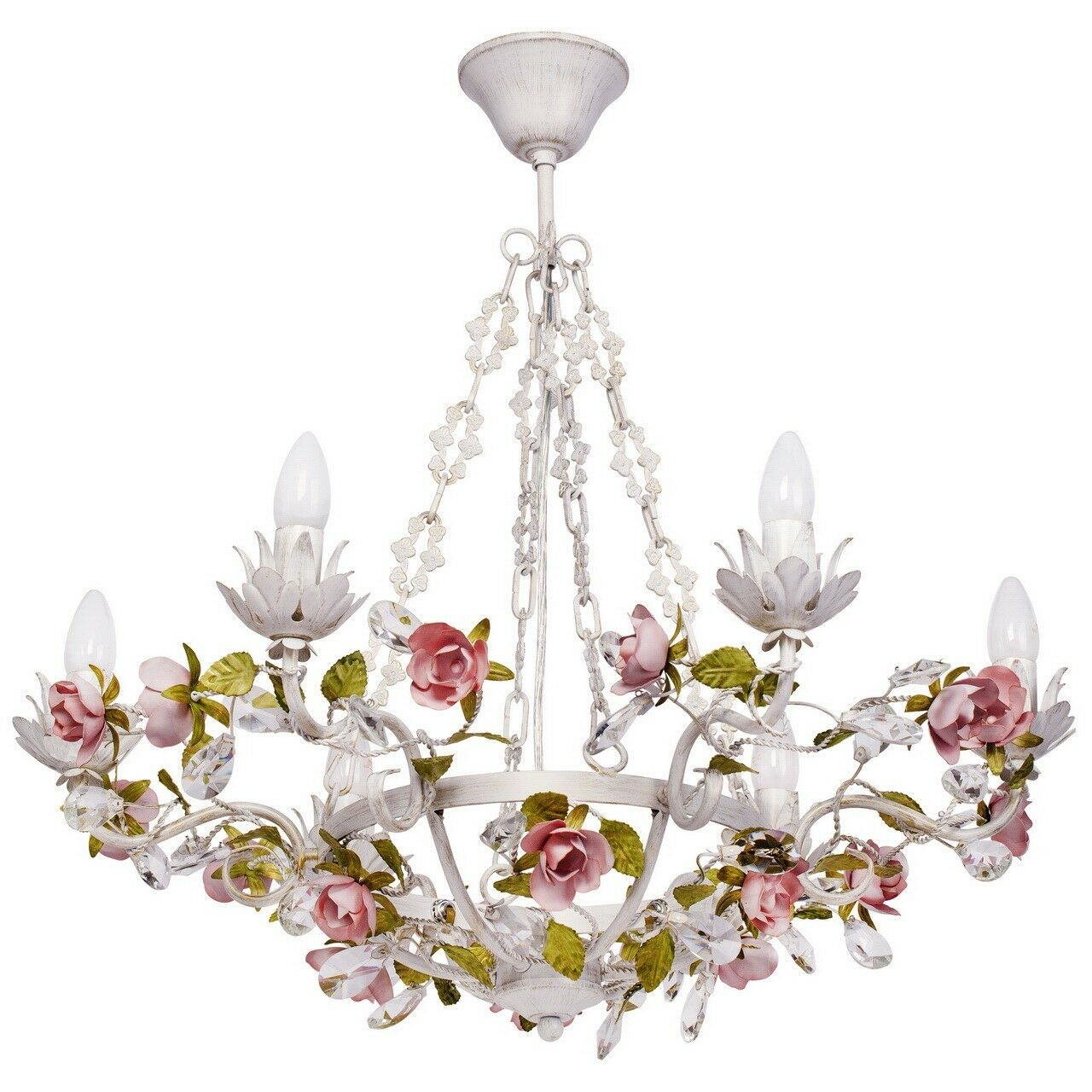 Floral pendant chandelier crystal drops Weiß Gold rot metal Provence 640W E14
