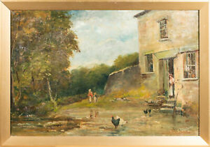 F-Watson-Signed-amp-Framed-Late-19th-Century-Oil-Rural-Cottage