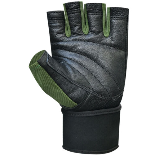 Fingerless gym fitness workout training weight lifting leather padded gloves 118