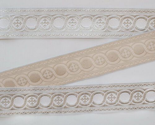 "21//4/"" Wide White on Silver Jacquard Vestment Trim Cross In Celtic Scroll 3 Yards"