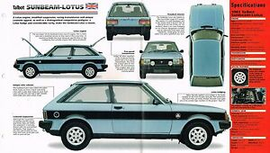 1979-1980-1981-TALBOT-SUNBEAM-LOTUS-SPEC-SHEET-Brochure